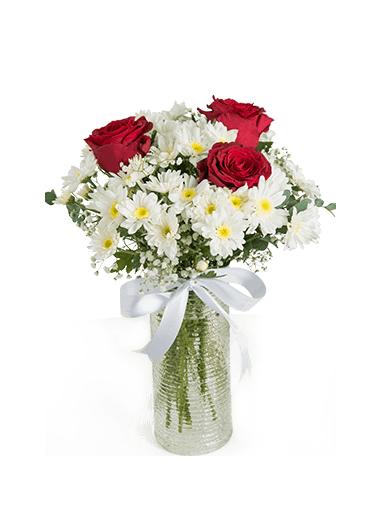 VAZODA PAPATYA ve 3 GÜL - ısparta çiçekçiler