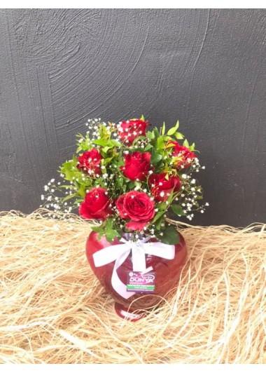 KALPTE 7 KIRMIZI GÜL - ısparta çiçekçi