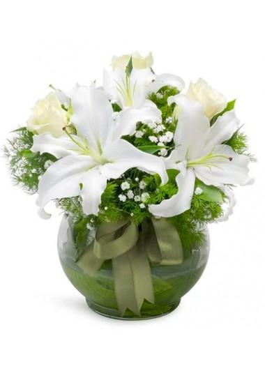FANUSTA BEYAZ ASALET GÜL ve LİLYUMLAR - ısparta çiçek