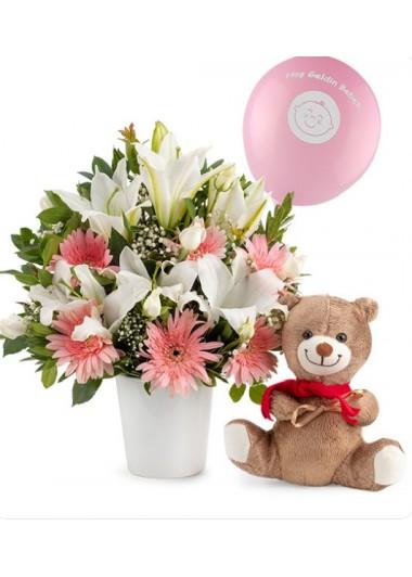 SERAMİK VAZODA KIZ BEBEK ARANJMANI - ısparta online çiçekçi