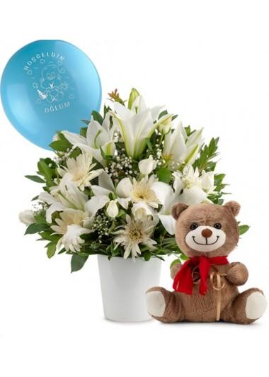 SERAMİK VAZODA ERKEK BEBEK ARANJMANI - ısparta çiçek