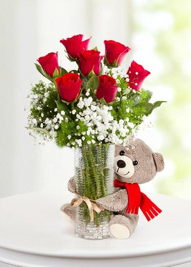 BİTMEYEN AŞK 7 KIRMIZI GÜL ve PELUŞ AYICIK VAZOSU - ısparta çiçekçiler