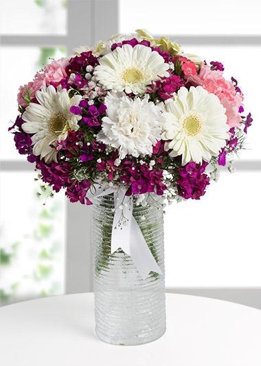 BAHAR RENKLERİ VAZOSU - ısparta çiçek gönder