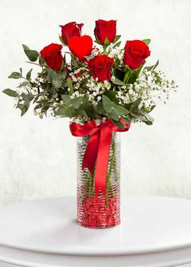 AŞK RÜZGARI VAZODA 5 GÜL - ısparta çiçekçi