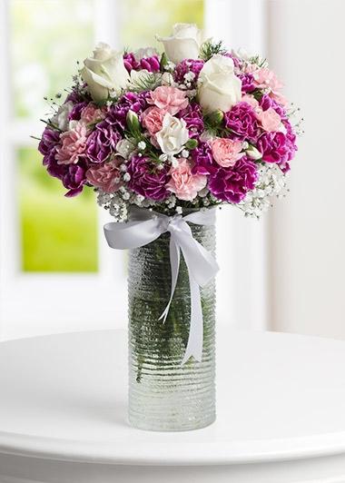 MİNİ KARANFİL ve BEYAZ GÜLLER - ısparta çiçekçiler