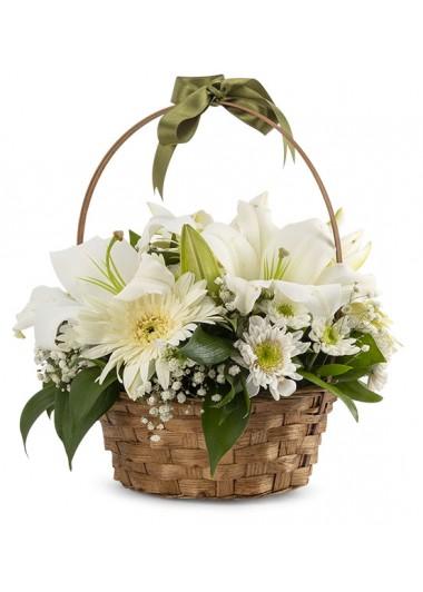 BEYAZ  BÜYÜ LİLYUM ve GERBERALAR ÇİÇEK SEPETİ - ısparta çiçekler