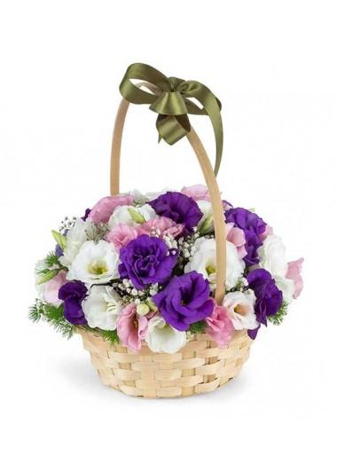 MUTLU DÜŞLER RENKLİ LİSYANTUS ÇİÇEK SEPETİ - ısparta çiçekçi