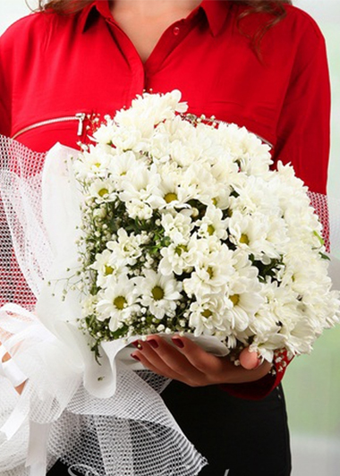 BEYAZ PAPATYA BUKETİ - ısparta çiçek