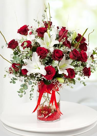 MUHTEŞEM AŞK RÜZGARI GÜL ve LİLYUMLAR - ısparta çiçek