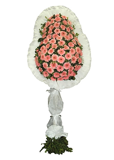 PEMBE GERBERA TEKLİ ÇELENK - ısparta çiçek siparişi