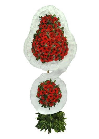 KIRMIZI GERBERA ÇİFTLİ ÇELENK - ısparta çiçekçiler