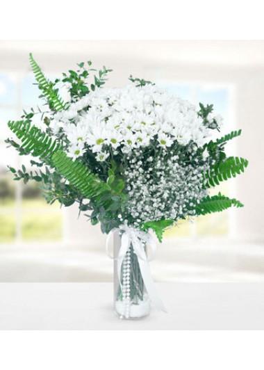 BEYAZ  PAPATYA  VAZOSU - ısparta çiçek