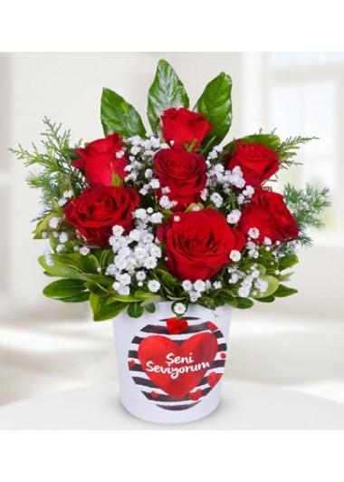 SENİ SEVİYORUM TEMALI 7 GÜL - ısparta çiçek