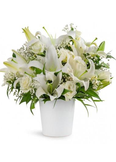BEYAZ GÜZELLİK SERAMİKTE LİLYUM ve GÜLLER - ısparta çiçekçi