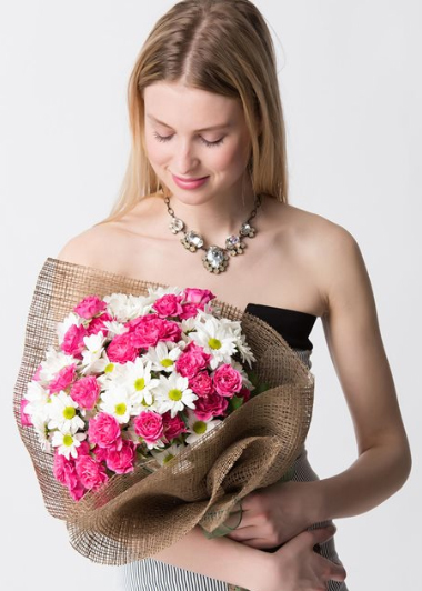 PEMBE BEYAZ BAHAR BUKETİ - ısparta çiçek